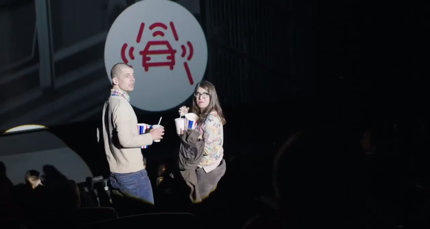 VW surprise moviegoers with latest detection technology