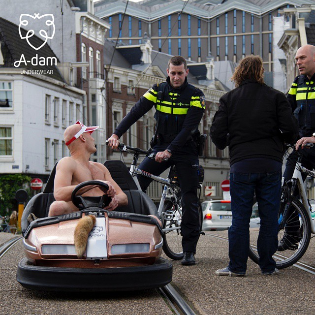 Man drives bumper car through the streets of Amsterdam in his underwear