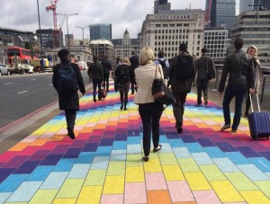Rainbow pavement brightens up commuter journey at London Bridge #SparkYourCity