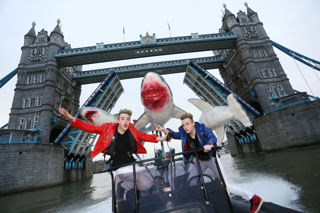 Jedward attempt to escape a terrifying Sharknado, River Thames, London, UK, 20th July 2015