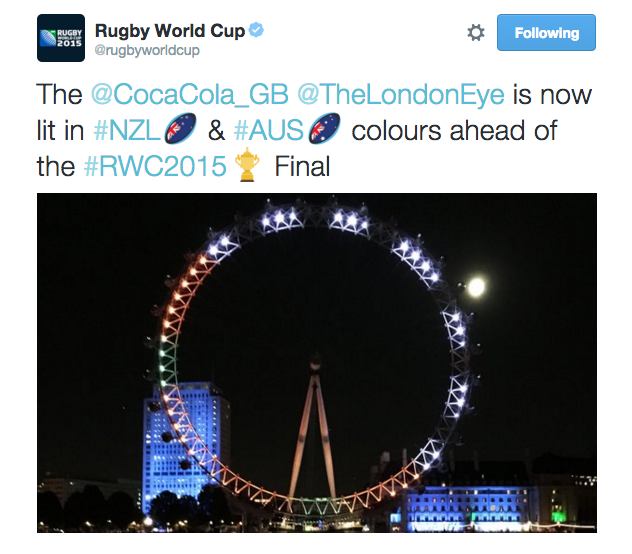 Coca-Cola lights up the London eye in anticipation of the Rugby World Cup Final
