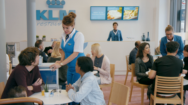 KLM turns itself into a restaurant, bank and radio station